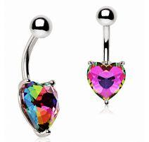Piercing nombril coeur vitrail multicolore