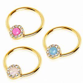 Piercing téton plaqué or anneau captif opale