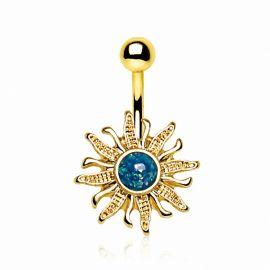 Piercing nombril plaqué or soleil flammes opale bleue