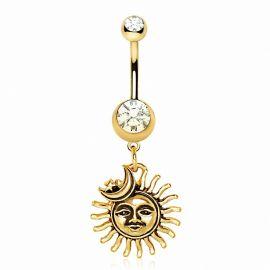 Piercing nombril plaqué or soleil et lune