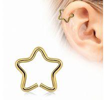 Faux piercing oreille étoile plaqué or