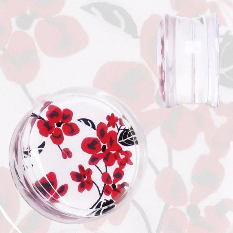 Piercing plug acrylique floral rouge et blanc