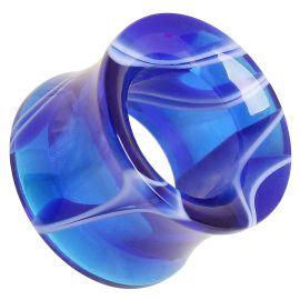 Piercing tunnel acrylique marbré bleu