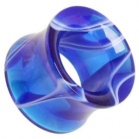 Piercing plug acrylique marbré bleu