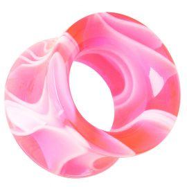 Piercing tunnel acrylique marbré rose
