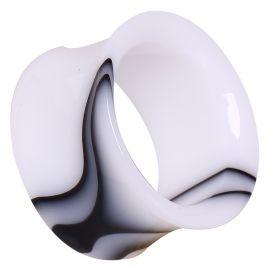 Piercing tunnel acrylique marbré blanc
