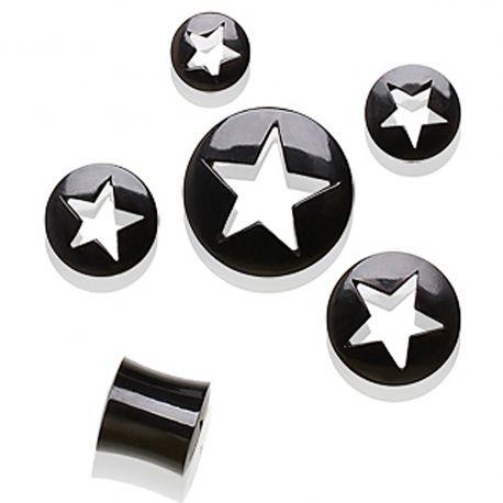 Piercing plug corne de buffle avec étoile