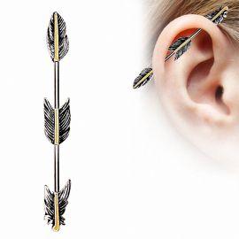 Piercing oreille industriel trois plumes