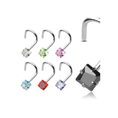 Piercing nez Argent 925/1000 Gemme Carré - Bijou Piercing Nez