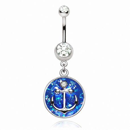 Piercing nombril ancre marine émail bleu