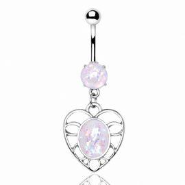 Piercing nombril coeur noeud et opale blanche