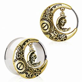 Piercing plug oreille plaqué or steampunk lune alien
