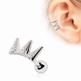 Piercing cartilage oreille triple spikes gemmes