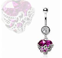 Piercing nombril coeur violet orné