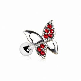 Piercing oreille cartilage hélix papillon gemmes rouges