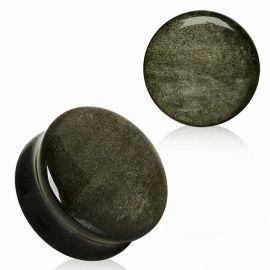 Piercing plug pierre naturelle obsidienne dorée