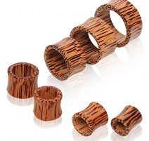 Piercing tunnel en bois de cocotier