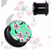 Piercing plug acrylique fleurs orientales