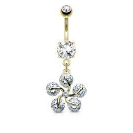 Piercing nombril fleur pétales cinq gemmes plaqué or