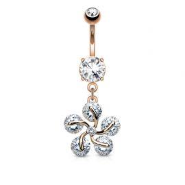 Piercing nombril fleur pétales cinq gemmes plaqué or rose
