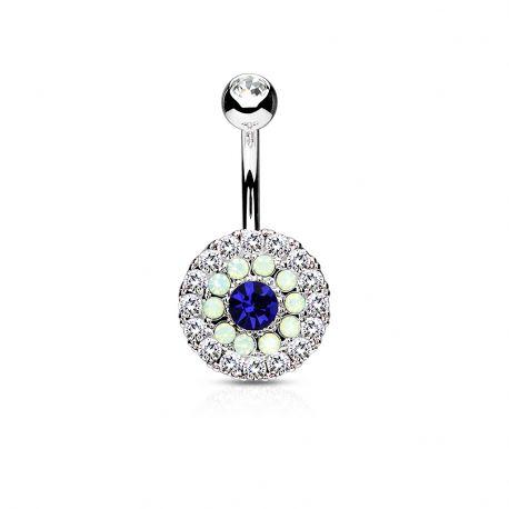 Piercing nombril multiples cristaux et opales bleu
