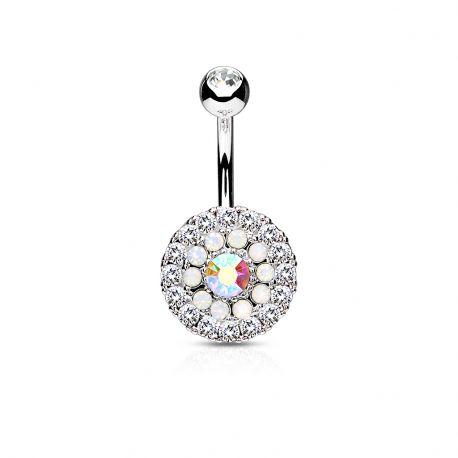 Piercing nombril multiples cristaux et opales blanc