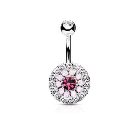 Piercing nombril multiples cristaux et opales rose