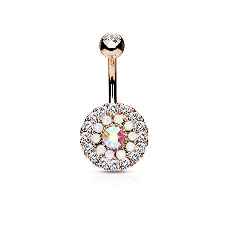 Piercing nombril multiples cristaux et opales blanc plaqué or rose