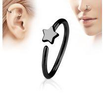 Piercing nez anneau étoile noire