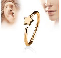 Piercing nez anneau étoile or rose