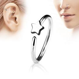 Piercing nez anneau étoile argenté