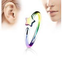 Piercing nez anneau étoile multicolore