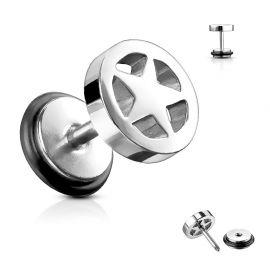 Faux Piercing Plug Oreille étoile argenté