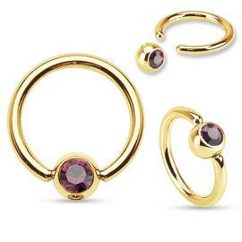 Piercing anneau captif Plaqué Or Strass Violet