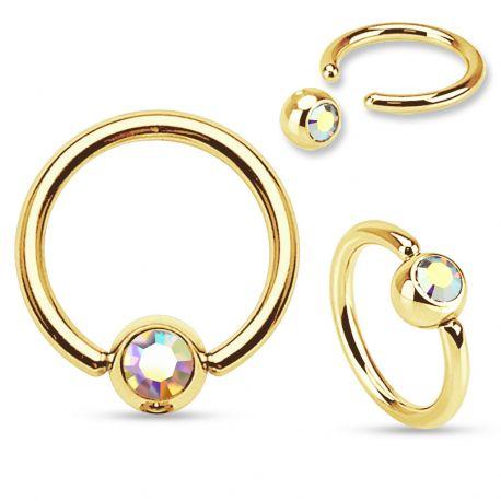 Piercing anneau captif Plaqué Or Strass Aurore Boréale