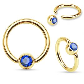 Piercing anneau captif Plaqué Or Strass Bleu