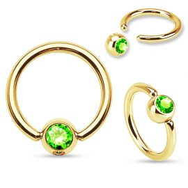 Piercing anneau captif Plaqué Or Strass Vert