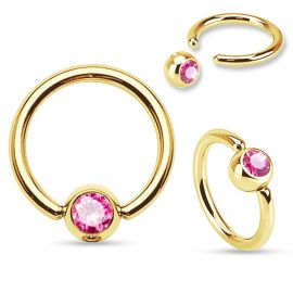 Piercing anneau captif Plaqué Or Strass Rose