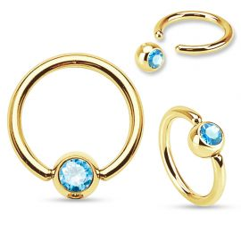 Piercing anneau captif Plaqué Or Strass Turquoise