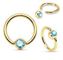 Piercing anneau captif Plaqué Or Strass Turquoise