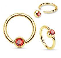 Piercing anneau captif Plaqué Or Strass Rouge