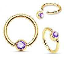 Piercing anneau captif Plaqué Or Strass Tanzanite