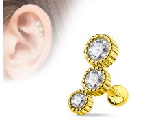 Piercing cartilage triple strass plaqué or