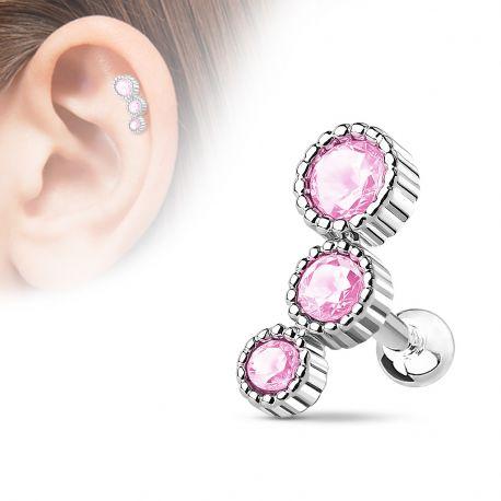 Piercing cartilage triple strass rose
