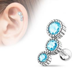 Piercing cartilage triple strass turquoise