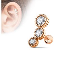 Piercing cartilage triple strass plaqué or rose