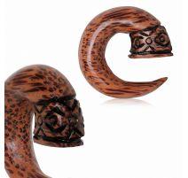 Piercing écarteur spirale en bois de cocotier tribal