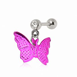 Piercing cartilage oreille papillon rose