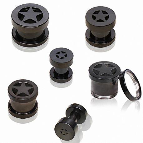 Piercing tunnel oreille acier PVD noir étoile