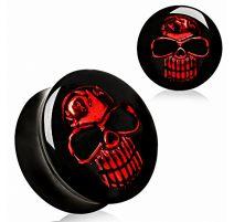 Piercing plug acrylique skull rouge